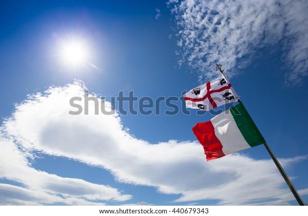 Italy flag on the summer  blue sky