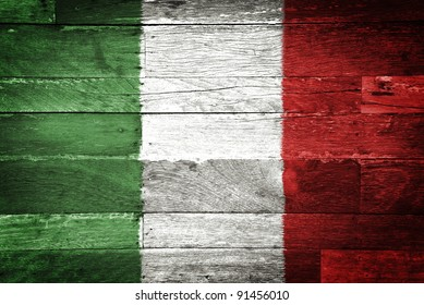 italy flag painted on old wood background