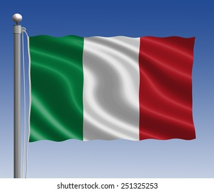 Italy flag in pole on blue sky background