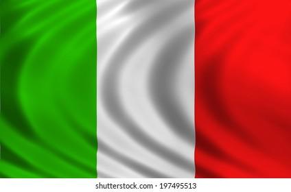 Italy flag of silk