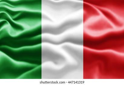 Italy  flag of silk -3D illustration