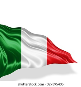Italy flag of silk with copyspace for your text or images and white background