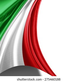 Italy flag of silk and white background