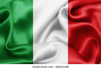 Italy flag of silk-3D illustration