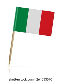 Italy flag toothpick on white background