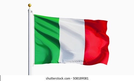 Italy flag waving against clean blue sky, close up, isolated with clipping path mask alpha channel transparency