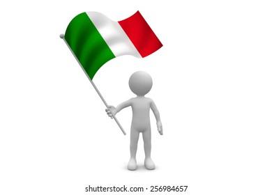 Italy Flag waving isolated on white background