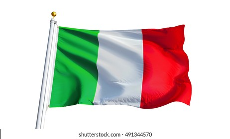 Italy flag waving on white background, close up, isolated with clipping path mask alpha channel transparency