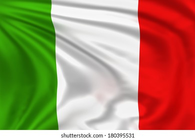 Italy flag waving in the wind. High quality illustration.