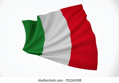 Italy Flag, Wavy Fabric Flag, 3D Render
