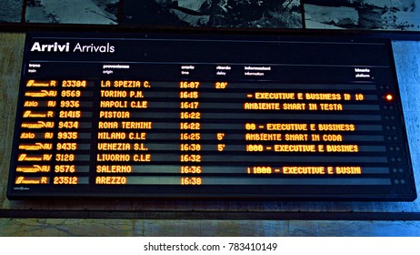Italy, Florence, December 2017 display for travelers with the information of train arrivals located in the central station of Santa Maria Novella in Florence in Italy