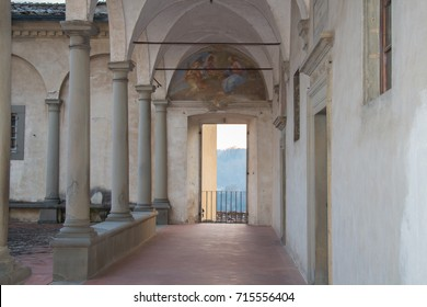 Italy, Florence - December 24 2016: the view of the fore courtyard of Florence Charterhouse church, Certosa di Galluzzo di Firenze on December 24 2016 in Florence, Tuscany, Italy.