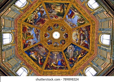 Italy, Florence, January 2018 octagonal dome of San Lorenzo of the Princes' chapel inside the Medici Chapels in the historic center of Florence in Italy