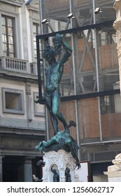 Italy, Florence - July 10, 2017: sculpture Perseus with the Head of Medusa (Perseo con la testa di Medusa) by Benvenuto Cellini (1545-1554) in Loggia dei Lanzi.