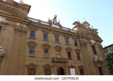Italy, Florence - July 11, 2017: View on church Complesso di San Firenze (Complex of San Firenze). It's a 17th-century Baroque-style building, consisting of a church, palace, and former oratory.
