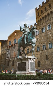 italy, florence, July 19, 2013: Famous Fountain of Neptune on Piazza della Signoria in Florence, Italy