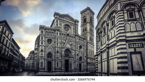 Italy, Florence, March 08, 2018, Cathedral of Saint Mary of Flower, (Duomo di Firenze) and Giotto's Campanile of Florence Cathedral