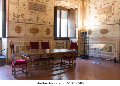 Italy, Florence - May 18 2017: the view of Lorenzo the Magnificent room at medieval Palazzo Vecchio on May 18 2017 in Florence, Italy.