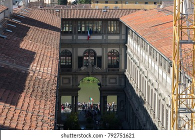 Italy, Florence - May 18 2017: the close up view of the Uffizi Gallery inner yard in a sunny day on May 18 2017 in Florence, Italy.
