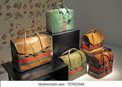 Italy - Florence - November 18, 2017 - Gucci museum - famous bags