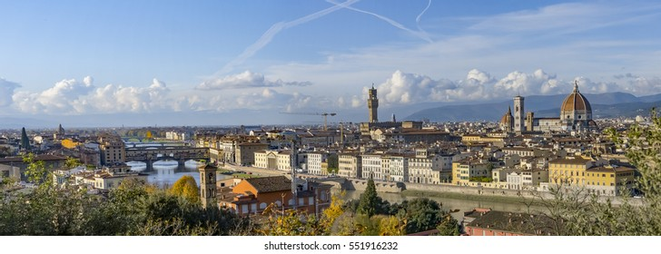 Italy. Florence. Panoramic view from Piazzale Michelangelo. Florence is the ancient city of the Italian region of Tuscany and of the Metropolitan City of Florence, on the banks of the River Arno.