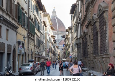 ITALY - FLORENCE - SEPTEMBER 4: People enjoy their way to the Cattedrale di Santa Maria del Fiore (Cathedral of Saint Mary of the Flower) in Florence Italy on September 4 2018.