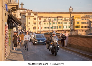 ITALY - FLORENCE - SEPTEMBER 4: River Arno and famous bridge Ponte Vecchio in Florence, Tuscany, Italy on September 4 2018.