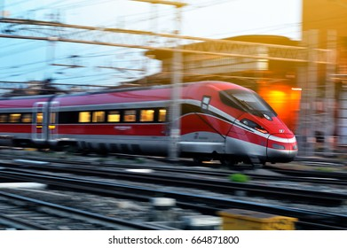 ITALY, FLORENCE-MAY 28, 2017: The modern high-speed train at the station. The central railway station of  Florence is one of the largest stations of Europe. Florence, Italy,. in may28, 2017