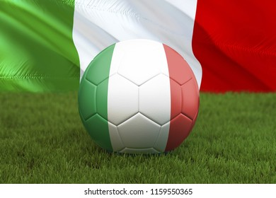 Italy football team ball on big stadium background. Italy Team competition concept. Italy flag on ball team tournament in Italy. Sport competition on green grass background. 3d rendering
