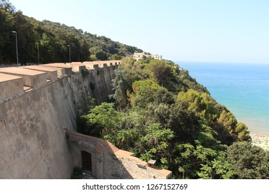 Italy, Gaeta - July 20, 2017: View on fortifications on Mount Orlando. Gaeta's fortifications date back to Roman times, and it has several traces of the period.