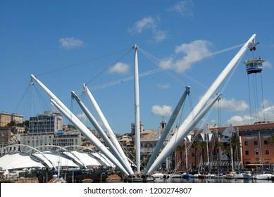 Italy / Genoa - May 14, 2013: the Bigo is an architectural structure by Renzo Piano present in the ancient port of Genoa near the aquarium. The bigo was the crane used for loading goods in the port.