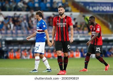 Italy, Genova, aug 23 2021: Olivier Giroud (Milan striker) waiting for a corner kick in the first half during football match SAMPDORIA vs AC MILAN, Serie A 2021-2022 day1, Ferraris stadium
