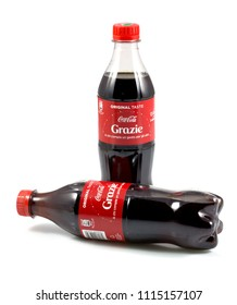 Italy, Genova (genoa),12 june 2018, Two bottle of coca cola, coke drinks isolated on the white background.
