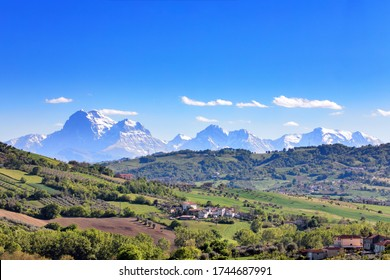 Italy Gran Sasso National Park mountain ranges in Abruzzo region in landscape panoramic scenic views