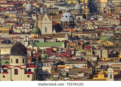 Italy. Historic Centre of Naples (UNESCO World Heritage Site) seen from Castle Sant'Elmo. There are cupolas of some churches located along the Tribunali street (incl. the facade of Naples Cathedral)