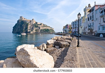 Italy, Ischia, the Aragonese Castle seen from Ischia Ponte