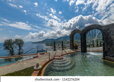 Italy, Ischia - July 4 2018, Beautiful view of the thermal pool of the 5 stars Hotel San Montano
