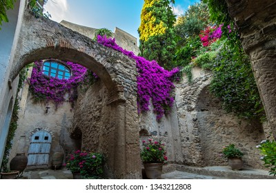 Italy, Ischia - June 19, 2015: The decoration of the courtyard in the Aragonese castle.