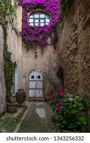 Italy, Ischia - June 19, 2015: The decoration of the courtyard in the Aragonese castle