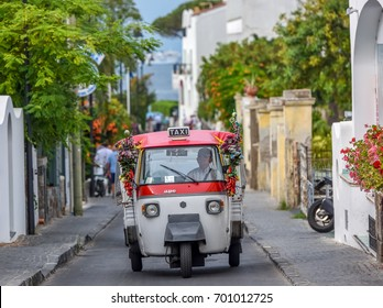 Italy, Ischia-June 17, 2017: Traditional old mototaxi in the south of Italy.