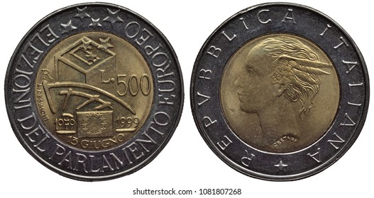 Italy Italian bimetallic coin 500 five hundred lire 1999, subject European Parliamentary Elections, designs, value and date within center ring, allegorical female portrait,