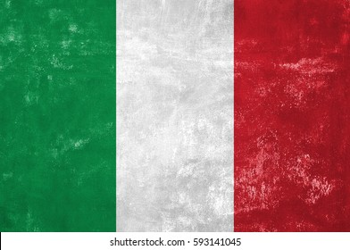 Italy - Italian Flag on Old Grunge Texture Background