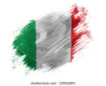 Italy. Italian flag  painted with brush on white background