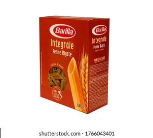Italy - January 30, 2020: 3D rendering whole wheat pasta, penne rigate pack of Barilla Italian pasta on white  illustrative editorial