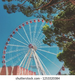 ITALY, JESOLO - August 21 2018: A view on a ferris wheel at Via Aquileia 121-123