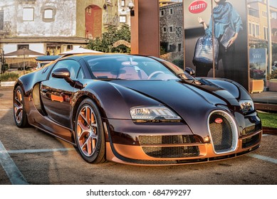 Italy July 2017 - front view of the super car Bugatti Veyron on display at Porto Cervo in Sardinia. The Bugatti is a French car manufacturer, notably for its sports cars, but also for its antique cars