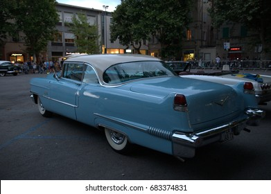 Italy July 2017- view of a blue cadillac exposed at the summer jamboree of Senigallia. Cadillac, the US automobile factory, was founded in Detroit on August 22, 1902