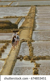 """Italy July 2017 - view of the mills and salt pans of Ettore Infersa in Marsala. The reserve includes the """"Stagnone"""", the largest lagoon in Sicily"""