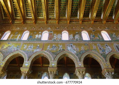 Italy July 2017 - View of the wonderful cathedral of Monreale Palermo Sicily. Art and architecture with the wonderful mosoaicists