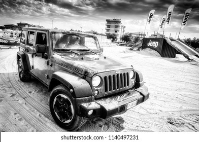 Italy July 2018 - Jeep Rubicon on show at Xmaster in Senigallia in the province of Ancona